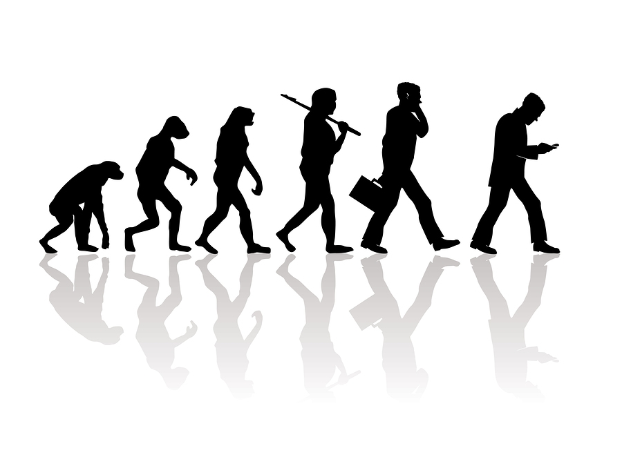 Abstract silhouette illustration of evolution going backwords